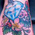 Foot Diamond Ladybug tattoo by Skin Deep Art