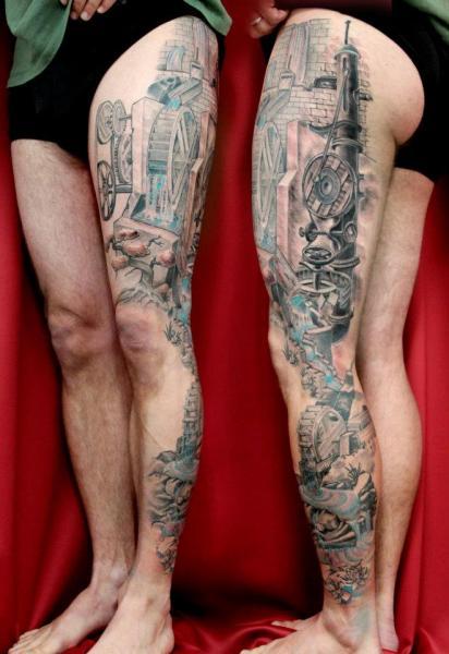 Realistic Leg Tattoo by Skin Deep Art