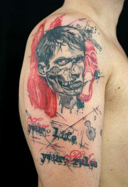 Shoulder Portrait Lettering Trash Polka Tattoo by Skin Deep Art