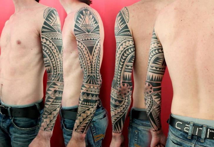 Tribal Maori Sleeve Tattoo by Skin Deep Art