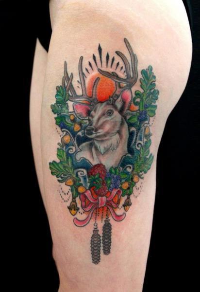 Fantasy Thigh Deer Tattoo by Skin Deep Art