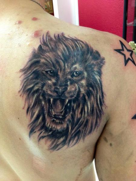 Shoulder Realistic Lion Tattoo by Morbid Art Tattoo
