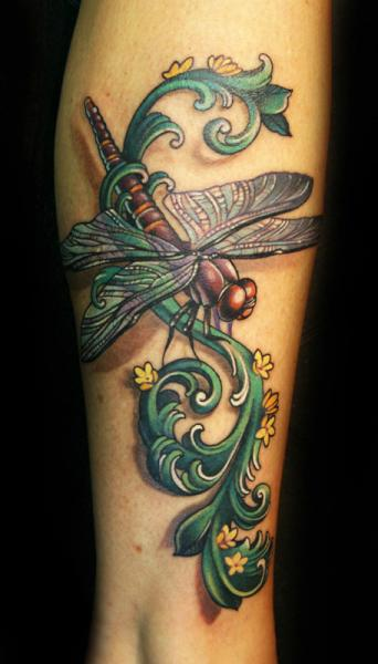 Arm Fantasy Dragonfly Tattoo by Teresa Sharpe