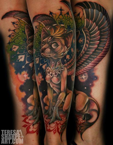 Tatuaje Brazo Fantasy Gato Alas por Teresa Sharpe
