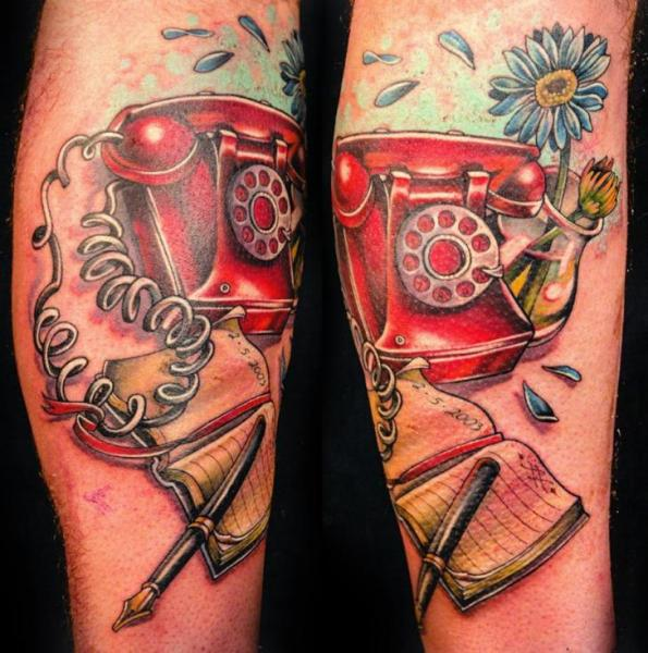 Arm Fantasy Telephone Tattoo by Teresa Sharpe
