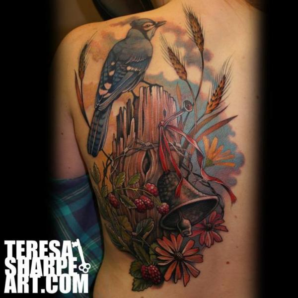 Shoulder Realistic Back Bird Bell Tattoo by Teresa Sharpe