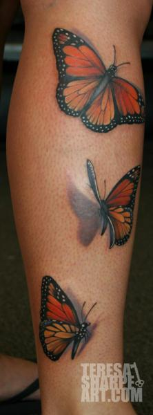 Realistic Calf Butterfly 3d Tattoo by Teresa Sharpe