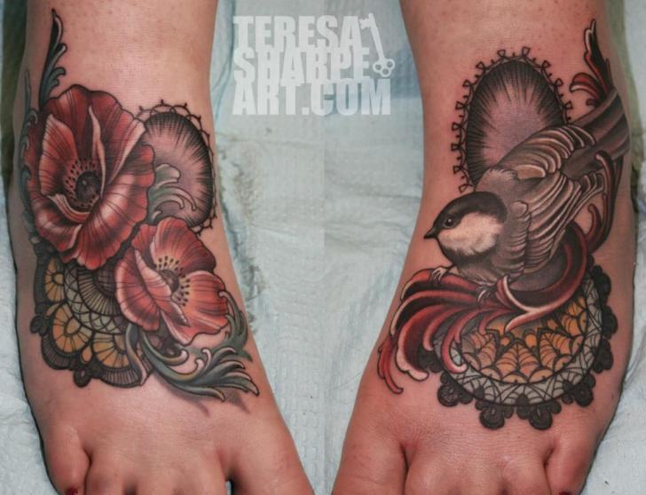 Foot Flower Bird Tattoo by Teresa Sharpe