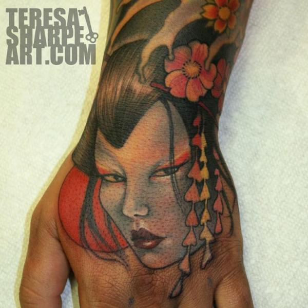 Japanese Hand Geisha Tattoo by Teresa Sharpe