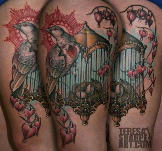 Schulter Vogel Käfig Tattoo von Teresa Sharpe