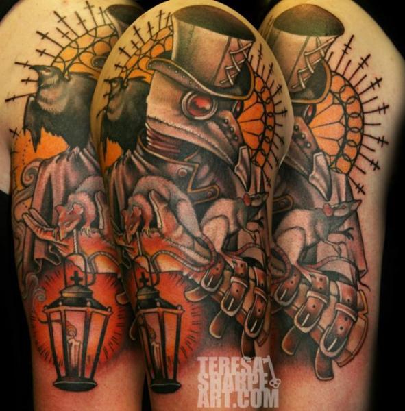 Shoulder Fantasy Lamp Crow Tattoo by Teresa Sharpe