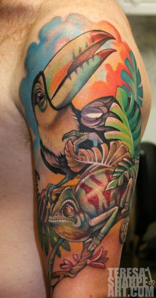 Shoulder Toucan Chameleon Tattoo by Teresa Sharpe