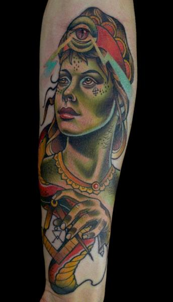 Arm Fantasy Women Tattoo by Sam Clark
