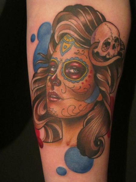 Arm Mexikanischer Totenkopf Tattoo von Sam Clark