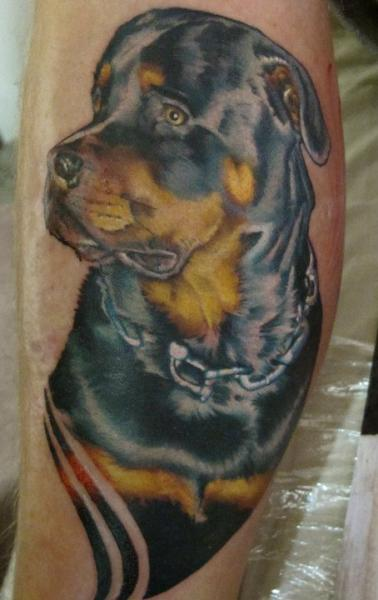 Arm Realistic Dog Tattoo by Sam Clark