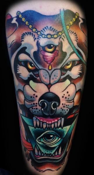 Arm New School Wolf Tattoo by Sam Clark