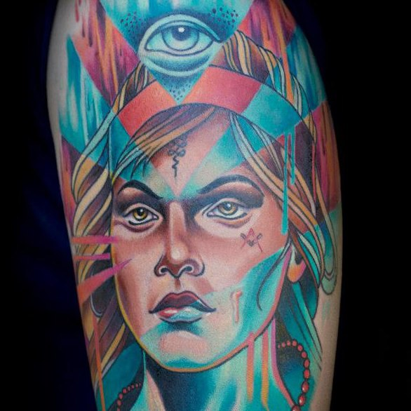Fantasy Portrait Tattoo by Sam Clark