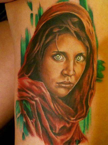Portrait Realistic Leg Tattoo by Sam Clark