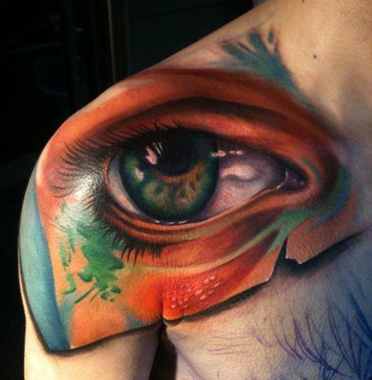 Schulter Auge 3d Tattoo von Sam Clark