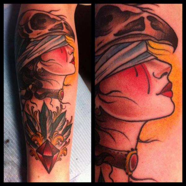 Arm Women Blind Diamond Tattoo by Lucky 7 Tattoos