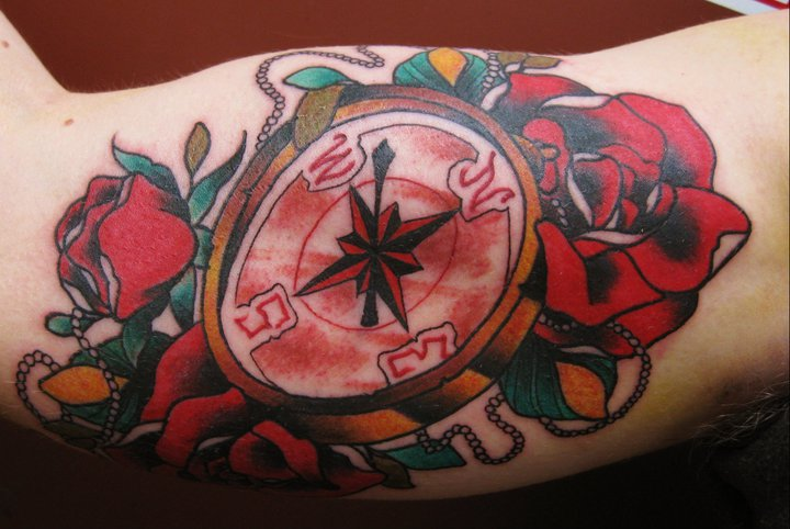 Arm Old School Compass Tattoo by Lucky 7 Tattoos