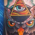 Arm New School Owl God tattoo by Lucky 7 Tattoos