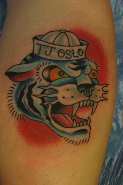 Shoulder New School Tiger Hat Tattoo by Lucky 7 Tattoos