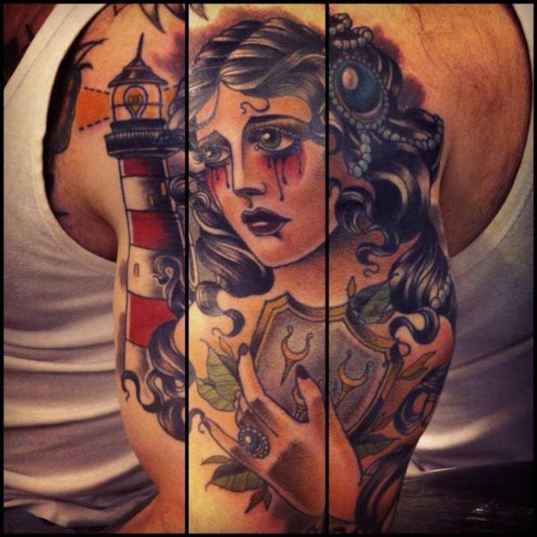 Schulter Leuchtturm Frauen Tattoo von Lucky 7 Tattoos