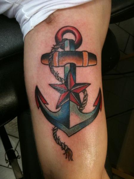 Arm New School Star Anchor Tattoo by Stay True Tattoo