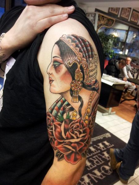 Shoulder Gypsy Tattoo by Stay True Tattoo