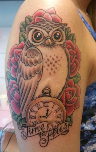Shoulder Clock Old School Owl Tattoo by Stay True Tattoo