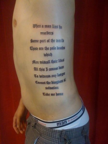 Side Lettering Tattoo by Stay True Tattoo