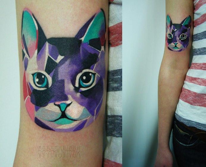 Arm Cat Abstract Tattoo by Sasha Unisex