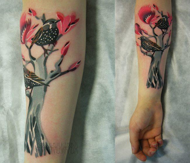 Arm Vogel Baum Tattoo von Sasha Unisex