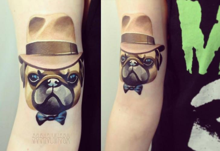 Arm Fantasy Dog Hat Tattoo by Sasha Unisex