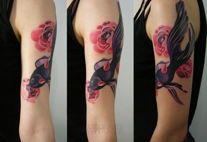 Arm Flower Fish Tattoo by Sasha Unisex