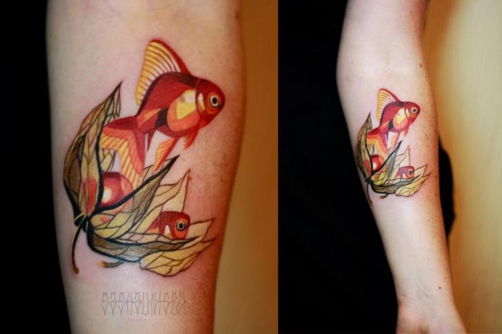 Arm Leaf Fish Tattoo by Sasha Unisex