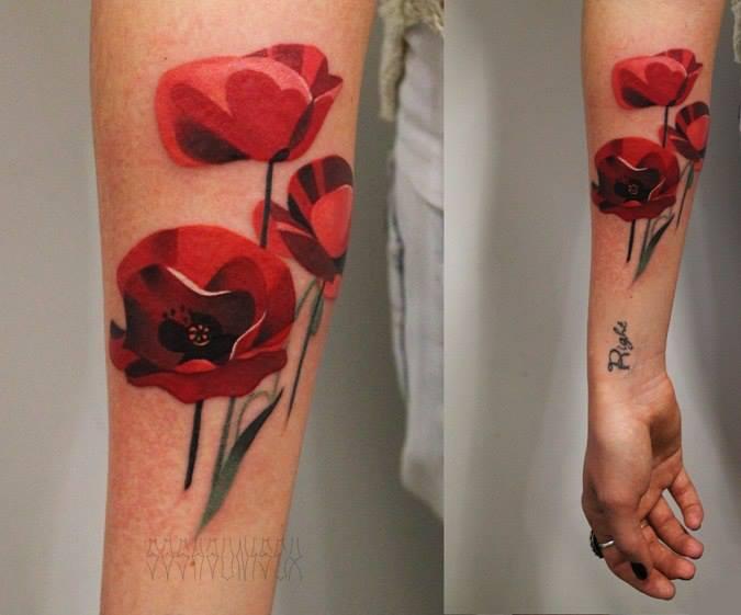 Arm Flower Tattoo by Sasha Unisex