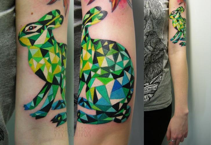 Tatuaje Brazo Conejo Abstracto por Sasha Unisex