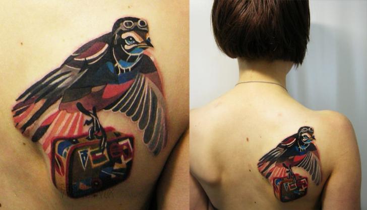 Tatuaje Espalda Pájaro Abstracto Maleta por Sasha Unisex