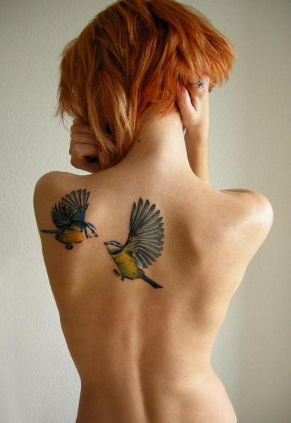 Realistic Back Bird Tattoo by Sasha Unisex
