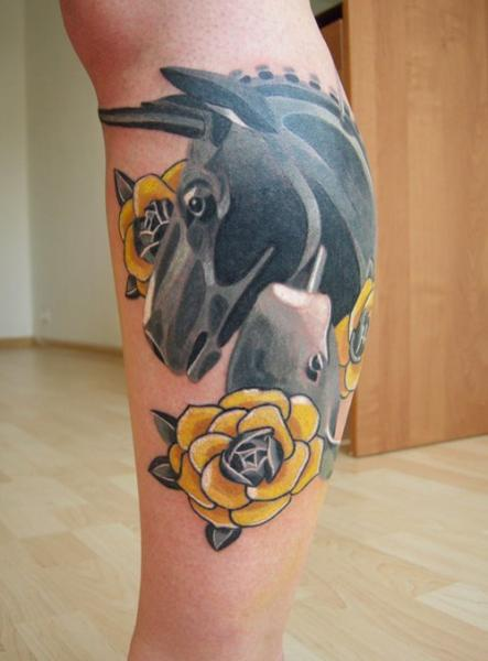 Calf Flower Horse Tattoo by Sasha Unisex
