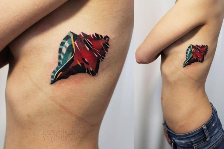 Side Shell Abstract Tattoo by Sasha Unisex