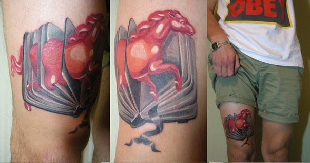 Fantasy Horse Book Thigh Tattoo by Sasha Unisex