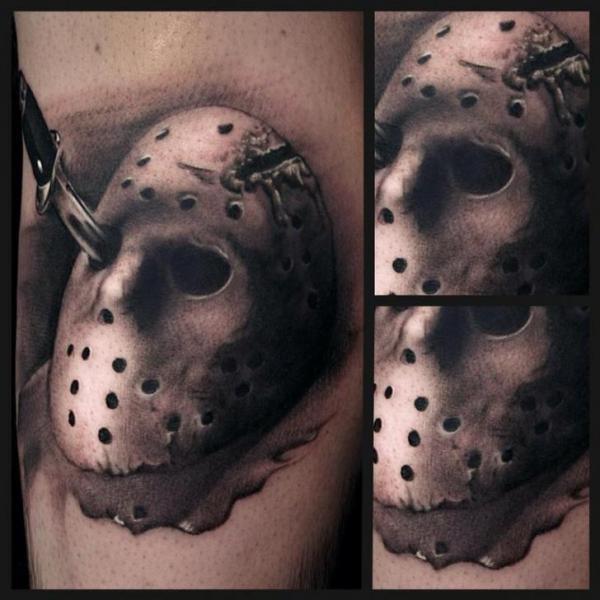 arm mask knife tattoo by art junkies tattoos
