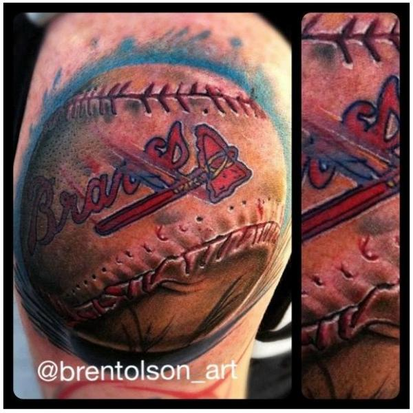 Arm Realistic Baseball Tattoo by Art Junkies Tattoos