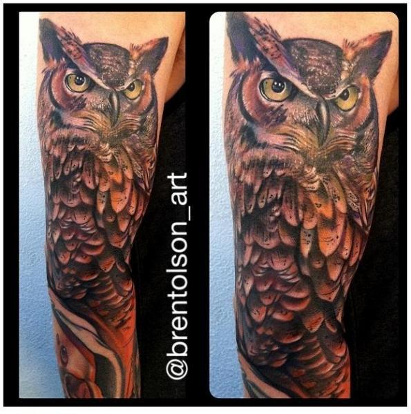 Arm Realistic Owl Tattoo by Art Junkies Tattoos