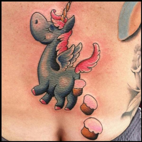 Fantasy Back Unicorn Tattoo by Art Junkies Tattoos