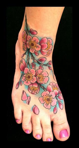Foot Flower Tattoo by Art Junkies Tattoos