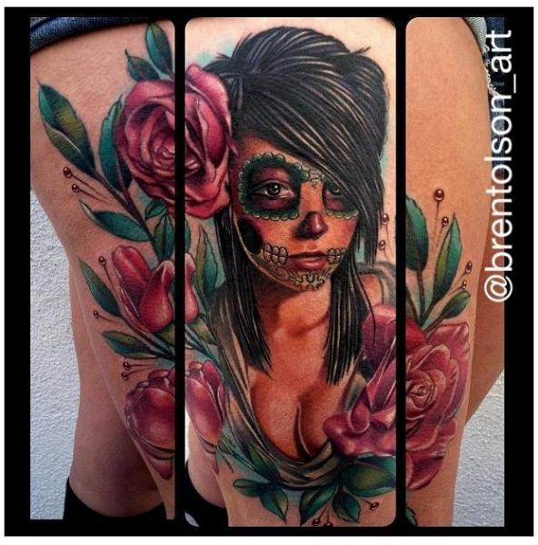 Leg Flower Mexican Skull Tattoo by Art Junkies Tattoos